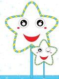 蓝色新鲜的动画片星 免版税库存照片