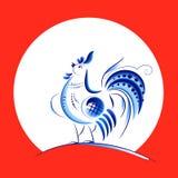 蓝色新年雄鸡 免版税库存照片