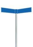蓝色方向路标,两空的空白的路标标志,被隔绝的定向路旁路标尖拷贝空间,白色 库存图片