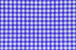 蓝色方格的桌布 库存图片