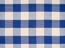 蓝色方格的桌布 免版税库存照片