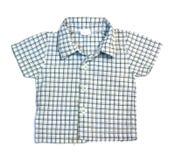 蓝色方格的男孩衬衣 免版税库存图片
