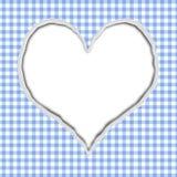 蓝色方格花布您的消息的被撕毁的背景 库存图片