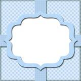 蓝色方格花布有您的消息或invitati的丝带背景 图库摄影
