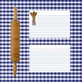 蓝色方格花布页食谱 免版税图库摄影