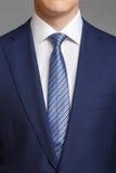 蓝色无尾礼服的人有浅兰的领带的 库存照片