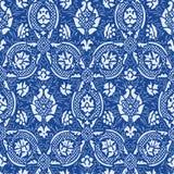 蓝色无缝的抽象花卉样式葡萄酒背景 免版税库存图片