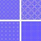 蓝色无缝的样式背景集合 库存例证