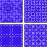 蓝色无缝的样式背景集合 免版税库存照片
