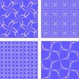 蓝色无缝的样式集合 免版税库存照片
