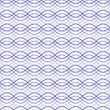 蓝色无缝的波浪抽象样式传染媒介例证 免版税库存图片