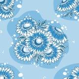 蓝色无缝花束黑暗的花纹花样 库存照片