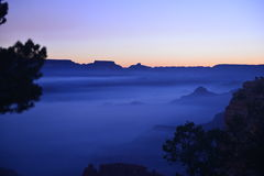 蓝色日出在大峡谷 免版税库存图片