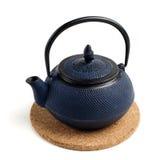 蓝色日本茶壶 库存图片