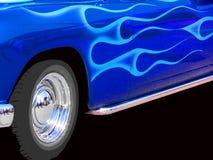 蓝色旧车改装的高速马力汽车 免版税库存照片