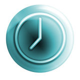 蓝色时钟图标 库存图片