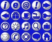 蓝色明亮的按钮网站 免版税库存图片