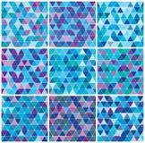 蓝色明亮的模式集合三角冬天 库存图片