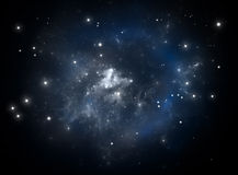 蓝色星云空间星形 免版税库存图片