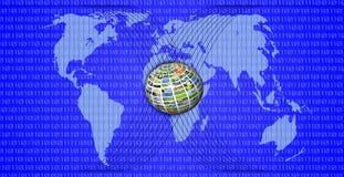 蓝色映射世界 免版税图库摄影