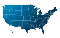 蓝色映射美国向量 免版税图库摄影