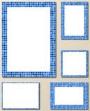 蓝色映象点马赛克页框集合 免版税图库摄影