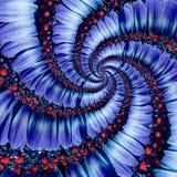 蓝色春黄菊雏菊花螺旋摘要分数维作用样式背景 蓝色紫罗兰色海军花螺旋摘要样式 图库摄影