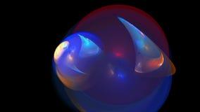蓝色曲线和圈子抽象背景 免版税库存图片