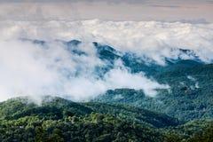 蓝色有雾的横向早晨山土坎 免版税库存照片