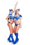 蓝色服装的二名引诱的戈戈舞的舞蹈家 库存图片