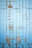 蓝色木板条外部墙壁  库存图片