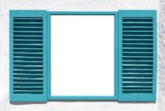 蓝色木窗口 免版税库存图片