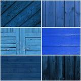 蓝色木背景的汇集 图库摄影