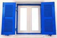 蓝色木视窗 免版税库存图片