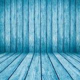 蓝色木透视背景 免版税库存照片