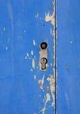 蓝色木门细节  免版税库存图片