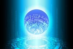 蓝色未来二进制地球技术背景 向量例证
