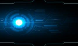 蓝色未来企业技术的圈子摘要技术未来派hud背景传染媒介设计 免版税库存图片