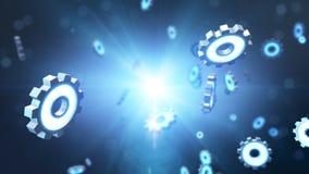 蓝色未来派齿轮steampunk概念-链轮爆炸 免版税库存图片