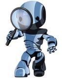 蓝色机器人搜索 图库摄影
