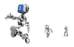 蓝色机器人运行屏幕 皇族释放例证