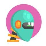 蓝色机器人顶头画象,一部分的动画片象未来派机器人和IT科学系列  库存例证