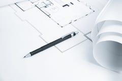 蓝色机械铅笔打印 图库摄影