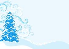 蓝色杉树冬天 皇族释放例证