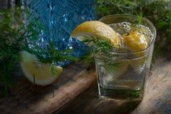 蓝色杜松子酒、补品和柠檬在一张老木桌上 免版税库存图片
