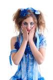 蓝色束腰妇女 图库摄影