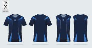 蓝色条纹样式T恤杉体育足球球衣、橄榄球成套工具和无袖衫的设计模板篮球球衣的 皇族释放例证