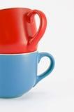 蓝色杯子红色 免版税库存照片