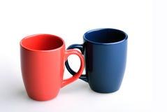 蓝色杯子红色 免版税库存图片