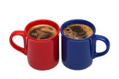 蓝色杯子红色 免版税图库摄影
